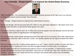 Paul Chehade - Simple Solutions to Improve the United States