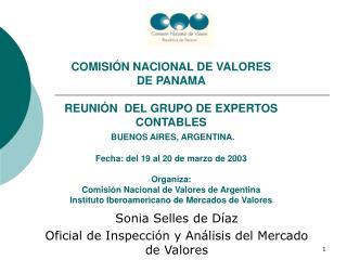 COMISI N NACIONAL DE VALORES  DE PANAMA  REUNI N  DEL GRUPO DE EXPERTOS  CONTABLES  BUENOS AIRES, ARGENTINA.  Fecha: del