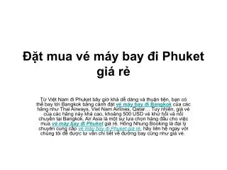 Đặt mua vé máy bay đi Phuket giá rẻ