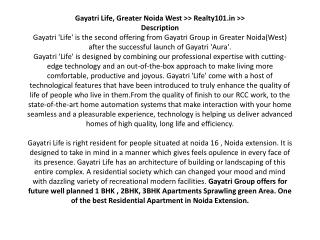 Gayatri Life Noida, Call at - 8527833708, Gayatri Life Great