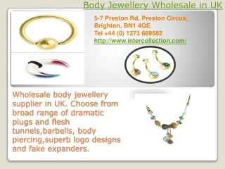 Body Jewellery Wholesale in UK
