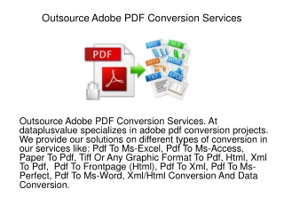 Outsource Adobe PDF Conversion Services