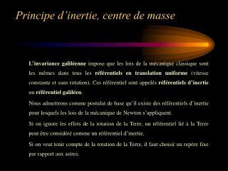 Principe d inertie, centre de masse