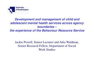 Development and management of child and adolescent mental health services across agency boundaries    the experience of