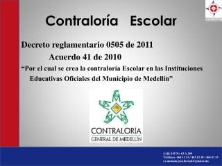 Contralor a   Escolar