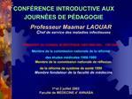 CONF RENCE INTRODUCTIVE AUX JOURN ES DE P DAGOGIE