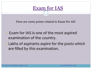 Contents about Exam for Ias