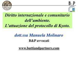 Diritto internazionale e comunitario dell ambiente. L attuazione del protocollo di Kyoto.