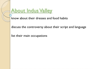 About indus valley