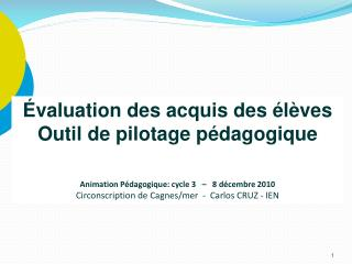 valuation des acquis des  l ves Outil de pilotage p dagogique   Animation P dagogique: cycle 3       8 d cembre 2010  C