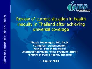 Review of current situation in health inequity in Thailand after achieving universal coverage