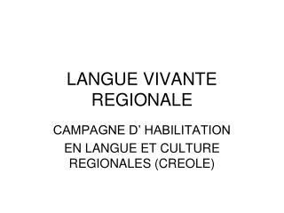 LANGUE VIVANTE REGIONALE