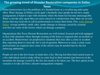 The growing trend of Disaster Restoration companies in Dalla