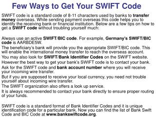 Few Ways to Get Your SWIFT Code