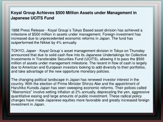 Koyal Group Achieves $500 Million Assets under Management