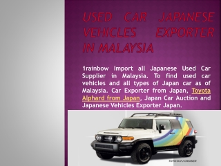 Used Car Japanese Vehicles Exporter in Malaysia