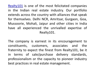 Real Estate Company Greater Noida - Realty101.in