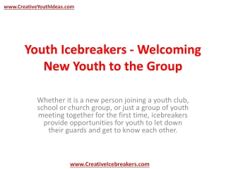 Youth Icebreakers - Welcoming New Youth to the Group