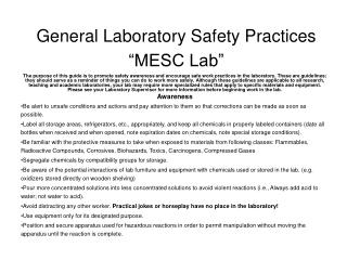 General Laboratory Safety Practices  MESC Lab