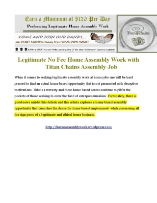 Home Assembly Work - Top Paid Legitimate Home Assembly Job