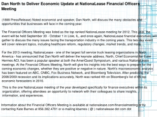 Dan North to Deliver Economic Update at NationaLease Financi
