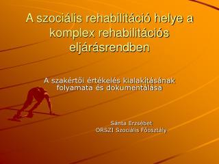 A szoci lis rehabilit ci  helye a komplex rehabilit ci s elj r srendben