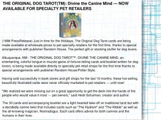 THE ORIGINAL DOG TAROT(TM): Divine the Canine Mind