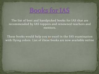 Books for IAS