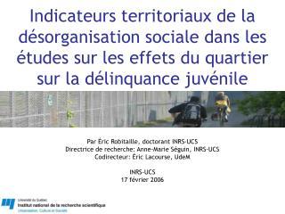 Indicateurs territoriaux de la d sorganisation sociale dans les  tudes sur les effets du quartier sur la d linquance juv