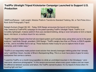 TrailPix Ultralight Tripod Kickstarter Campaign Launched to