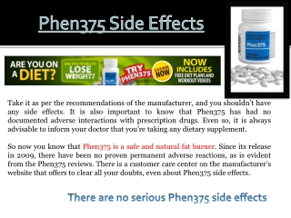Is Phen375 Safe?