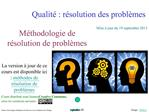 Qualit  : r solution des probl mes