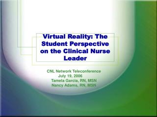 Virtual Reality: The Student Perspective on the Clinical Nurse Leader