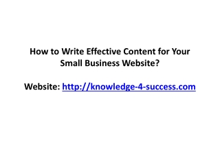 How to Write Effective Content for Your Small Business Site