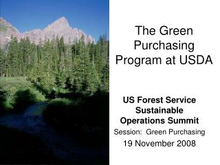 The Green Purchasing Program at USDA