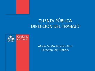 CUENTA P BLICA  DIRECCI N DEL TRABAJO    Mar a Cecilia S nchez Toro Directora del Trabajo