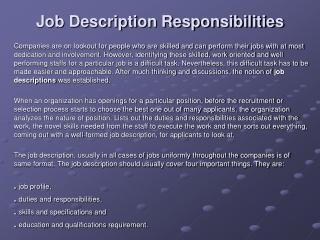 Job Description Responsibilities