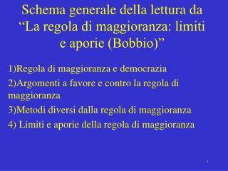 Schema generale della lettura da  La regola di maggioranza: limiti e aporie Bobbio
