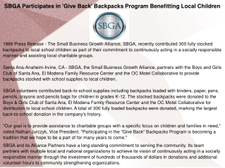 SBGA Participates in 'Give Back' Backpacks Program