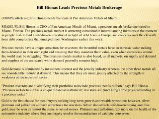 bill hionas leads precious metals brokerage