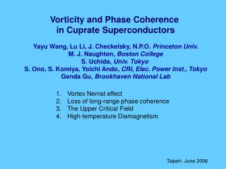 Vortex Nernst effect Loss of long-range phase coherence The Upper Critical Field High-temperature Diamagnetism
