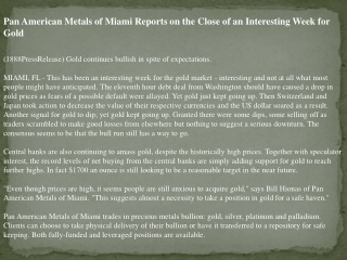 pan american metals of miami reports on the close of an inte