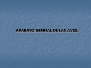 APARATO GENITAL DE LAS AVES.