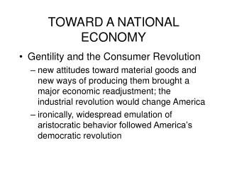 toward a national economy
