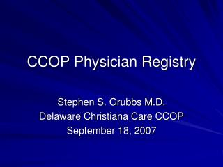 CCOP Physician Registry