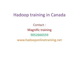 Hadoop trraining in canada
