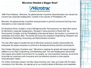 Microtrac Needed a Bigger Boat!