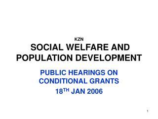 KZN  SOCIAL WELFARE AND POPULATION DEVELOPMENT