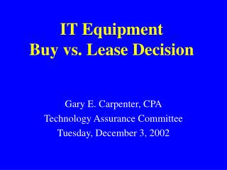 IT Equipment Buy vs. Lease Decision