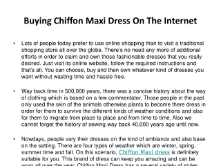 Buying Chiffon Maxi Dress On The Internet